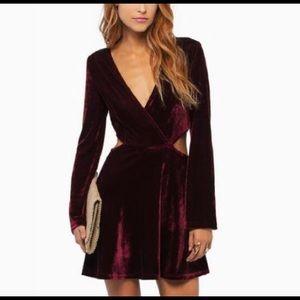 Tobi | Purple Velvet Cut-Out Skater Dress